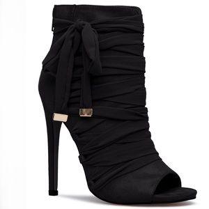 Shoedazzle Kasha Chiffon Black Tie Bootie